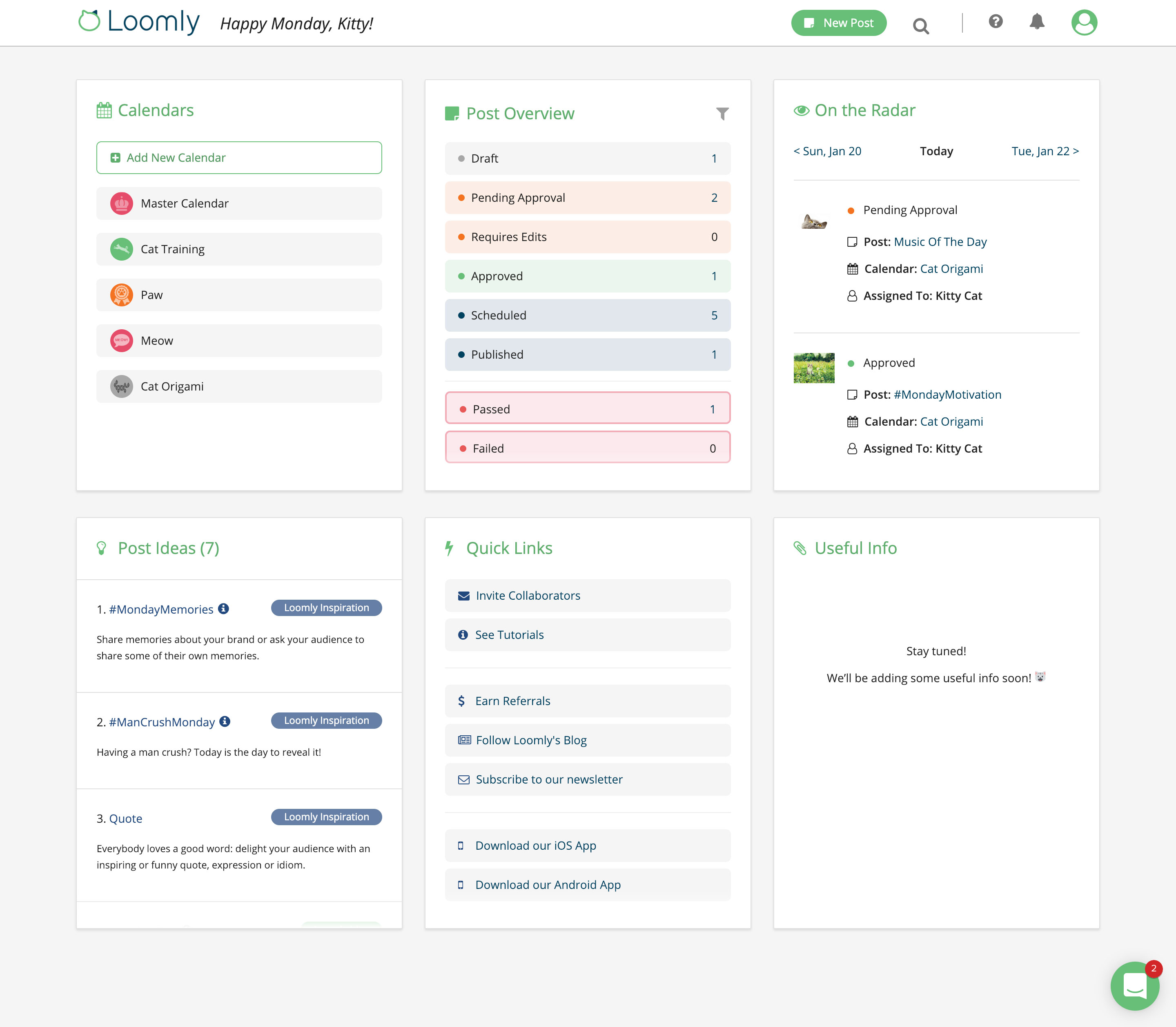 Loomly 3.0 Dashboard Screenshot