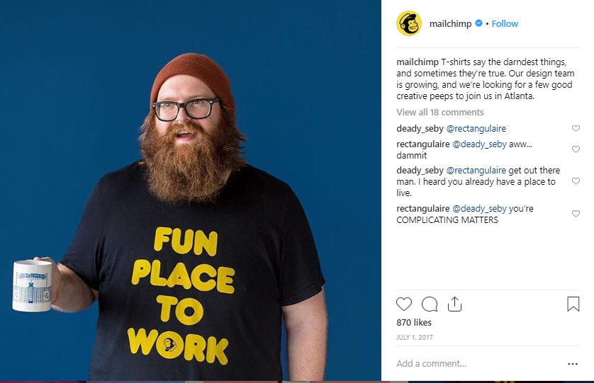 Employer branding incorporated strategy mailchimp instagram