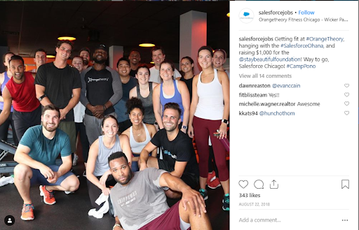 Employer branding salesforce team at the gym