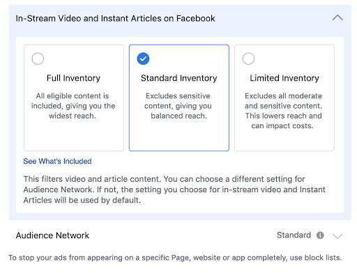 brand safety facebook options