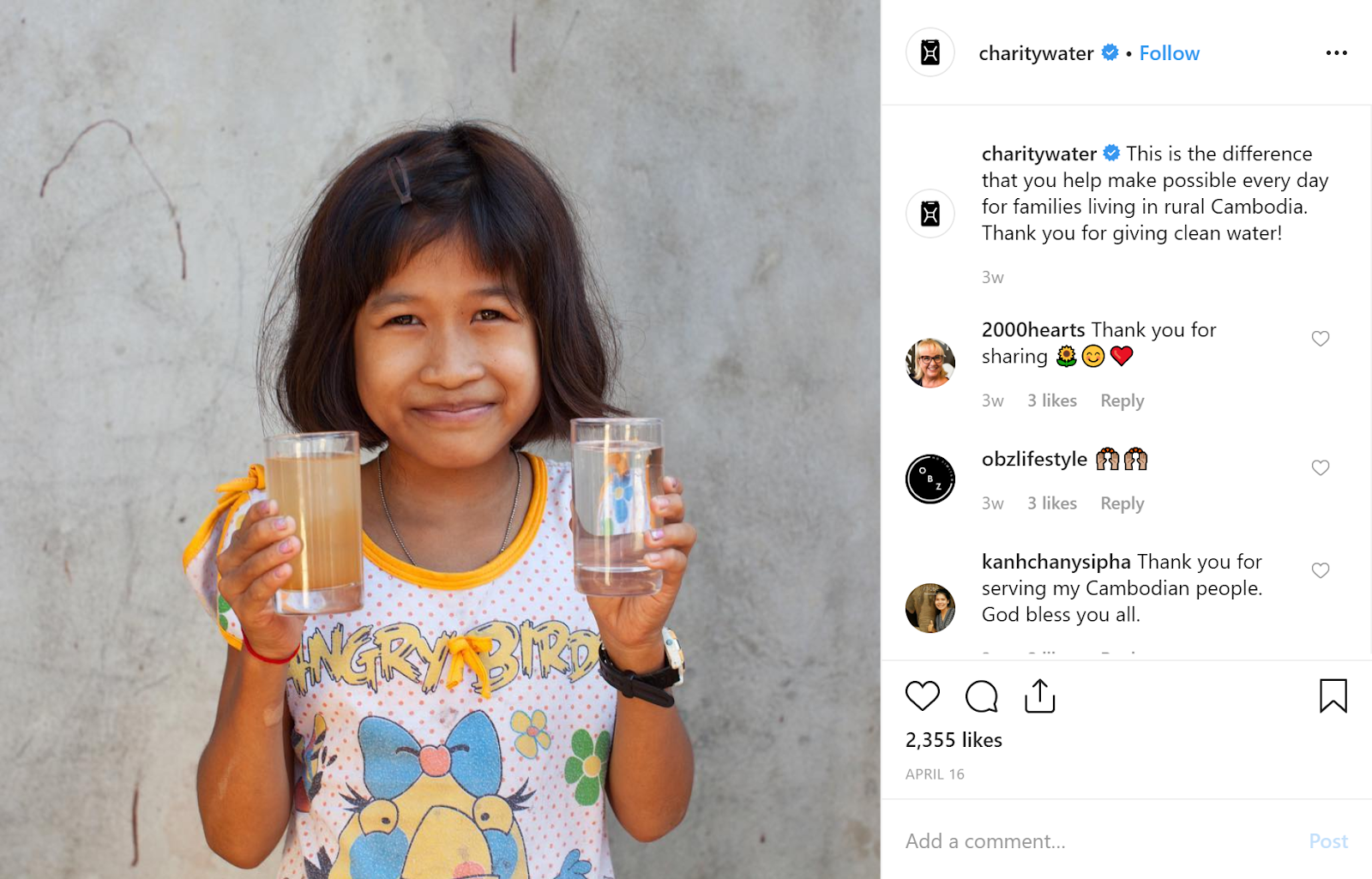 brand storytelling charity water example